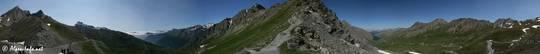 360° Panorama vom Col Agnel, links Italien und rechts Frankreich