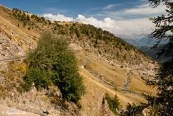 Blick zurück auf einen Teil der schmalen Passstraße von Barcelonnette hinauf zum Col d'Allos