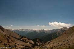 Ausblick vom Aussichtspunkt Richtung Süden mit den Bergen des Queyras