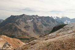 Ausblick vom Aussichtspunkt oberhalb des Col du Galibier Richtung Écrins-Massiv mit den Pics de Combeynot