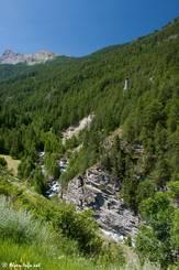 Aus dem Wald im Vallée des Aigues ragt die Demoiselle Coiffée empor